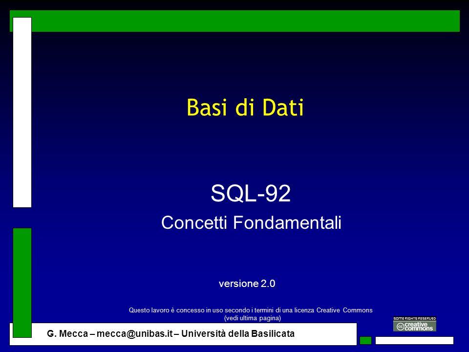 SQL-92 Concetti Fondamentali