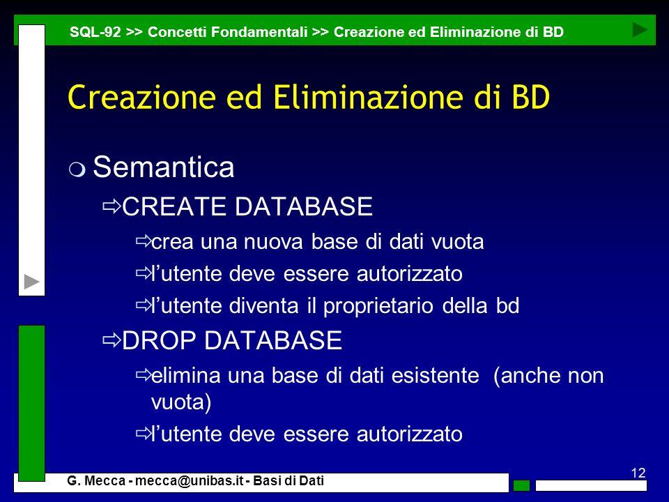 Creazione ed Eliminazione di BD