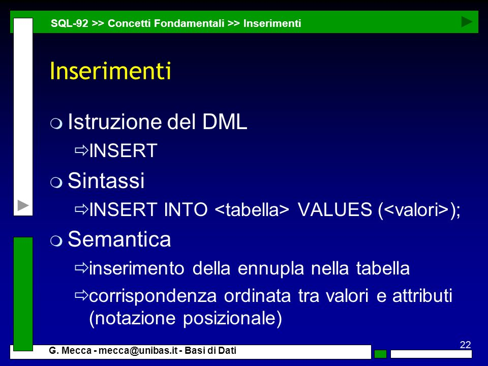 Inserimenti Istruzione del DML Sintassi Semantica INSERT