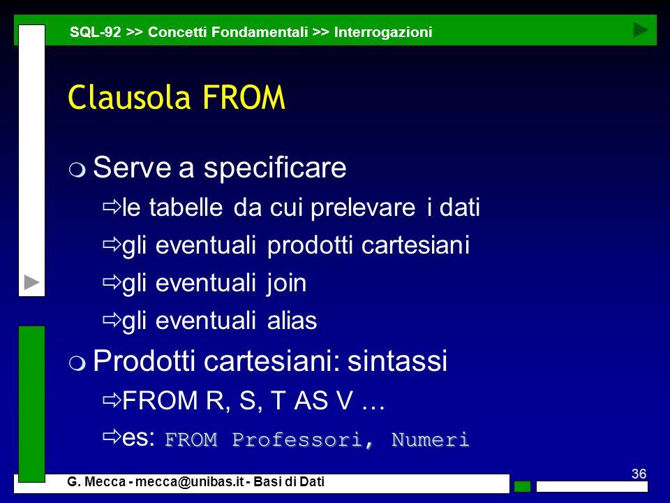 Clausola FROM Serve a specificare Prodotti cartesiani: sintassi