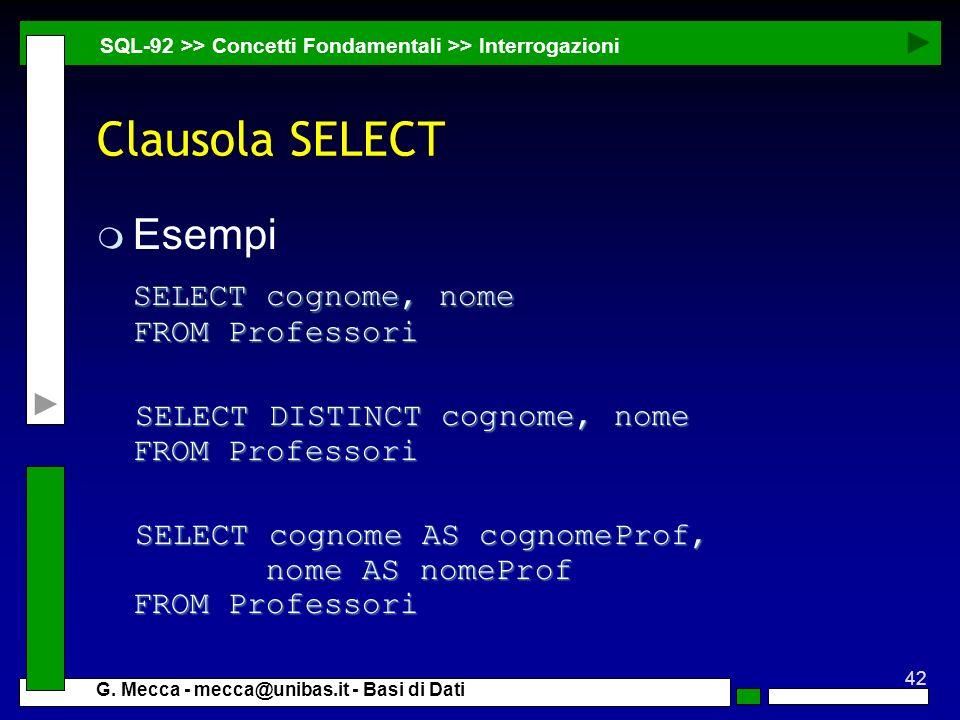 Clausola SELECT Esempi SELECT cognome, nome FROM Professori