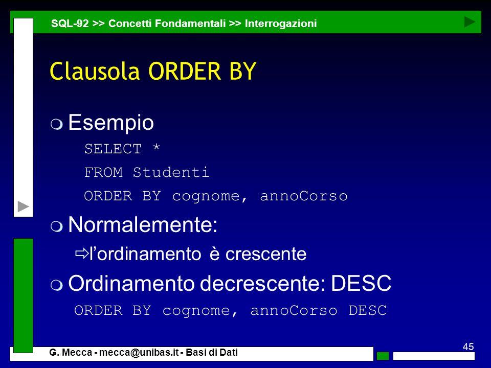 Clausola ORDER BY Esempio Normalemente: Ordinamento decrescente: DESC