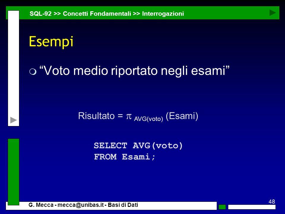 Esempi Voto medio riportato negli esami