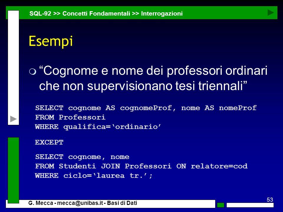 27/03/2017 SQL-92 >> Concetti Fondamentali >> Interrogazioni. Esempi.