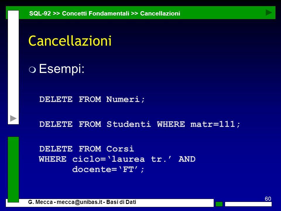 Cancellazioni Esempi: DELETE FROM Numeri;