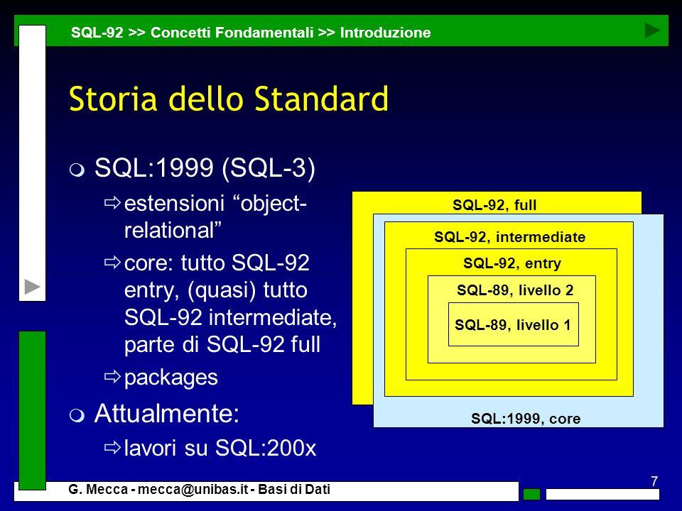 Storia dello Standard SQL:1999 (SQL-3) Attualmente: