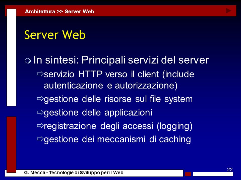 Server Web In sintesi: Principali servizi del server