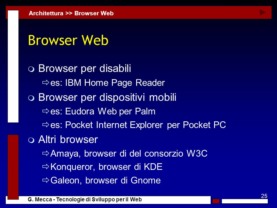 Browser Web Browser per disabili Browser per dispositivi mobili