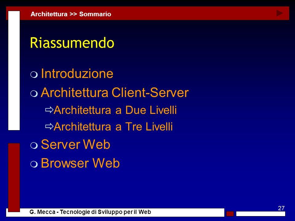 Riassumendo Introduzione Architettura Client-Server Server Web
