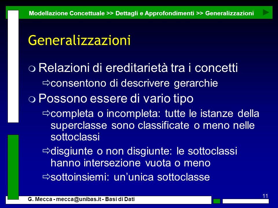 Generalizzazioni Relazioni di ereditarietà tra i concetti