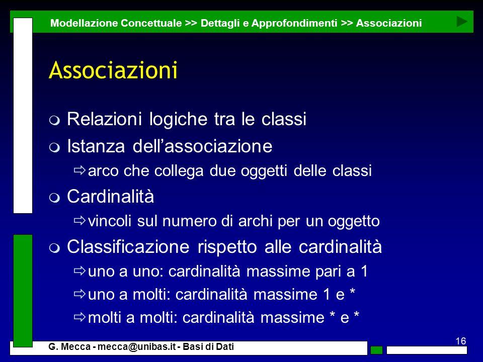Associazioni Relazioni logiche tra le classi Istanza dell'associazione