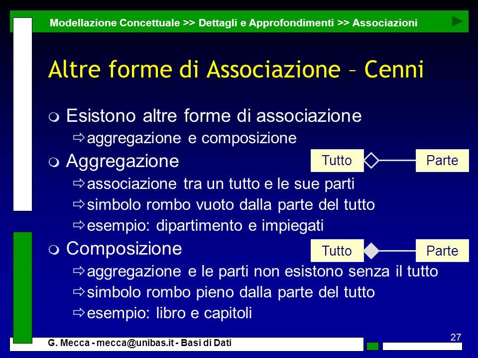 Altre forme di Associazione – Cenni