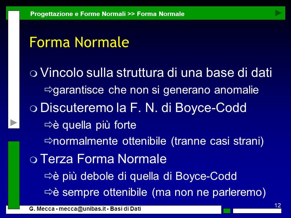 Forma Normale Vincolo sulla struttura di una base di dati