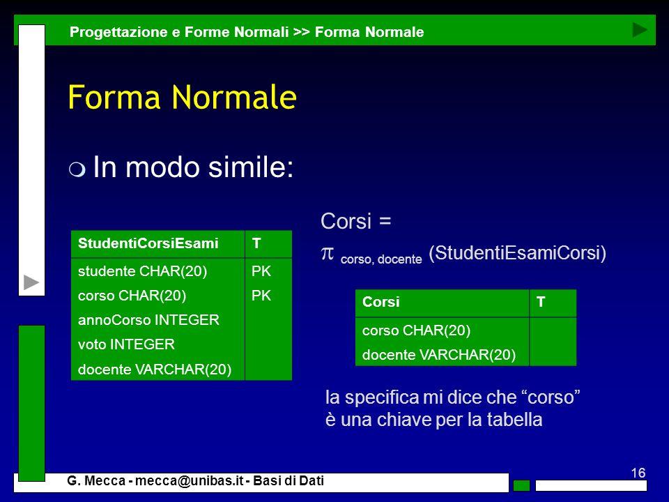 Forma Normale In modo simile: p corso, docente (StudentiEsamiCorsi)