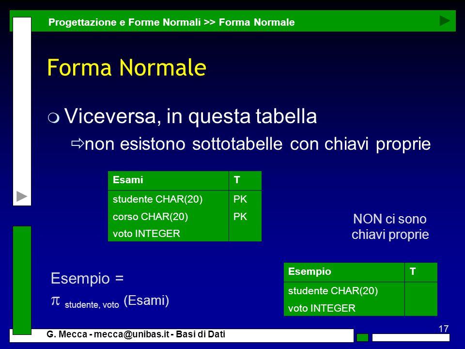 Forma Normale Viceversa, in questa tabella