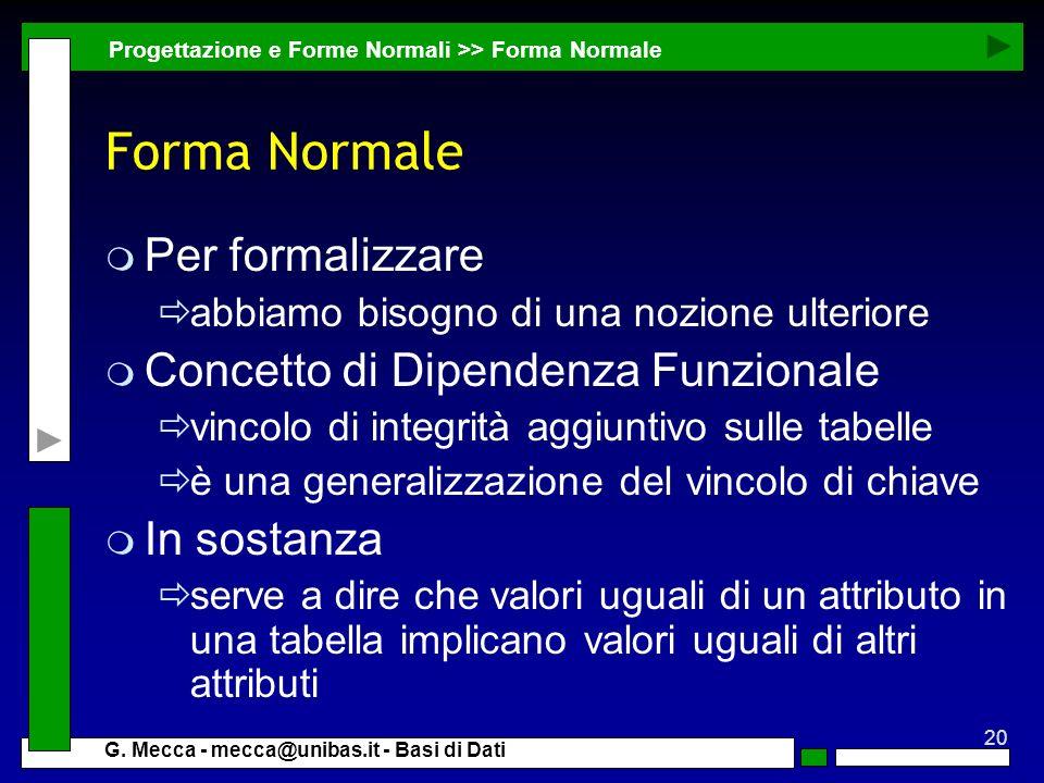 Forma Normale Per formalizzare Concetto di Dipendenza Funzionale