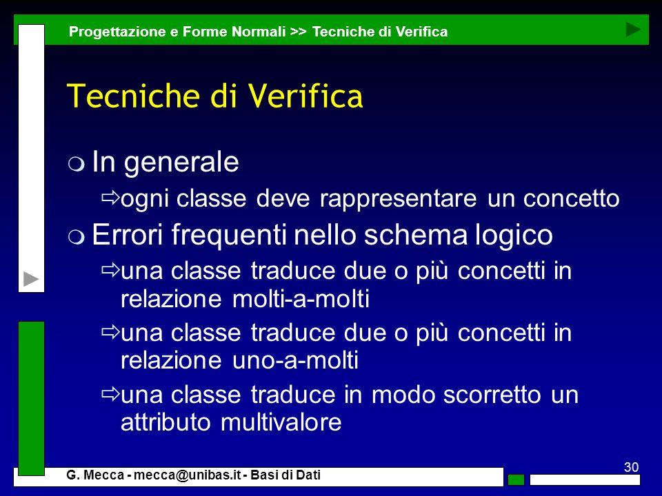 Tecniche di Verifica In generale Errori frequenti nello schema logico