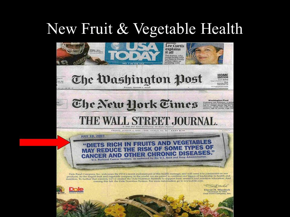 New Fruit & Vegetable Health Message
