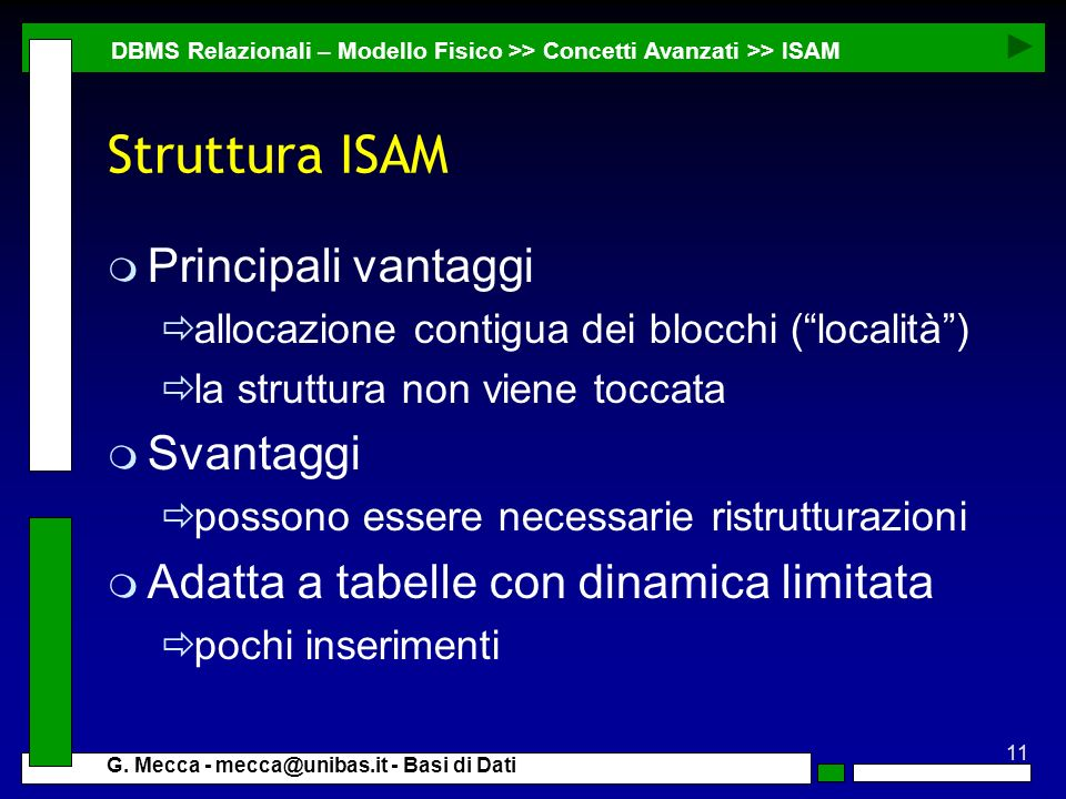 Struttura ISAM Principali vantaggi Svantaggi
