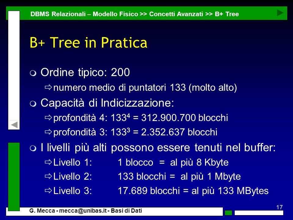 B+ Tree in Pratica Ordine tipico: 200 Capacità di Indicizzazione: