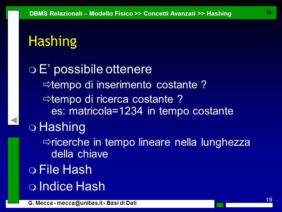 Hashing E' possibile ottenere Hashing File Hash Indice Hash