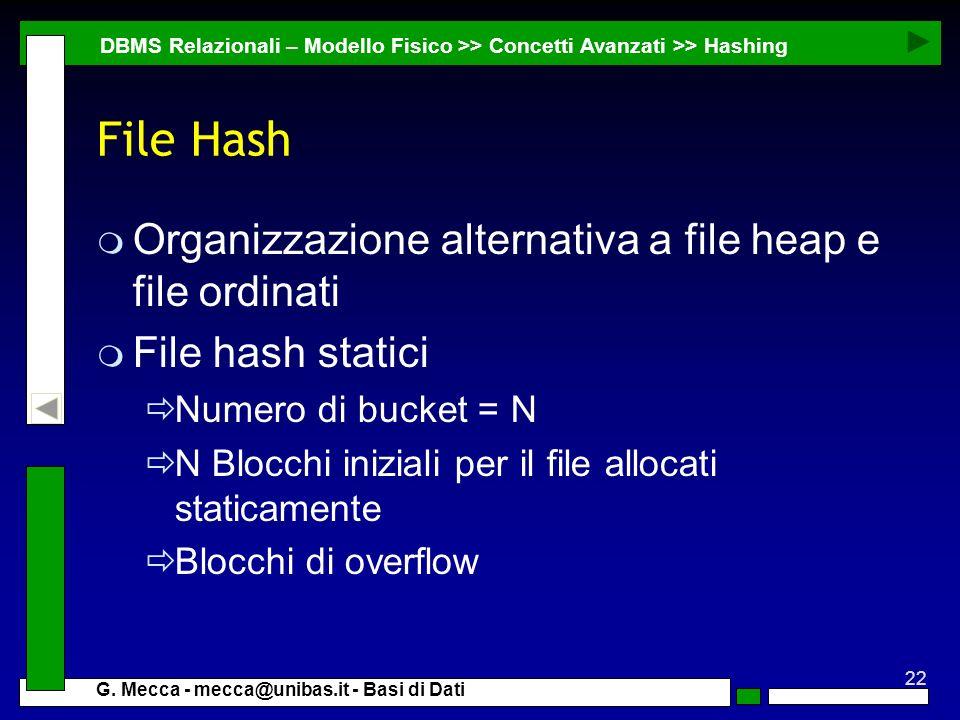 File Hash Organizzazione alternativa a file heap e file ordinati