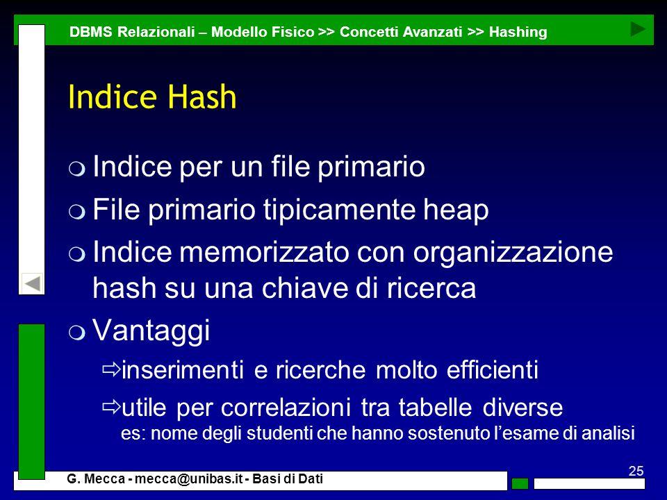 Indice Hash Indice per un file primario File primario tipicamente heap