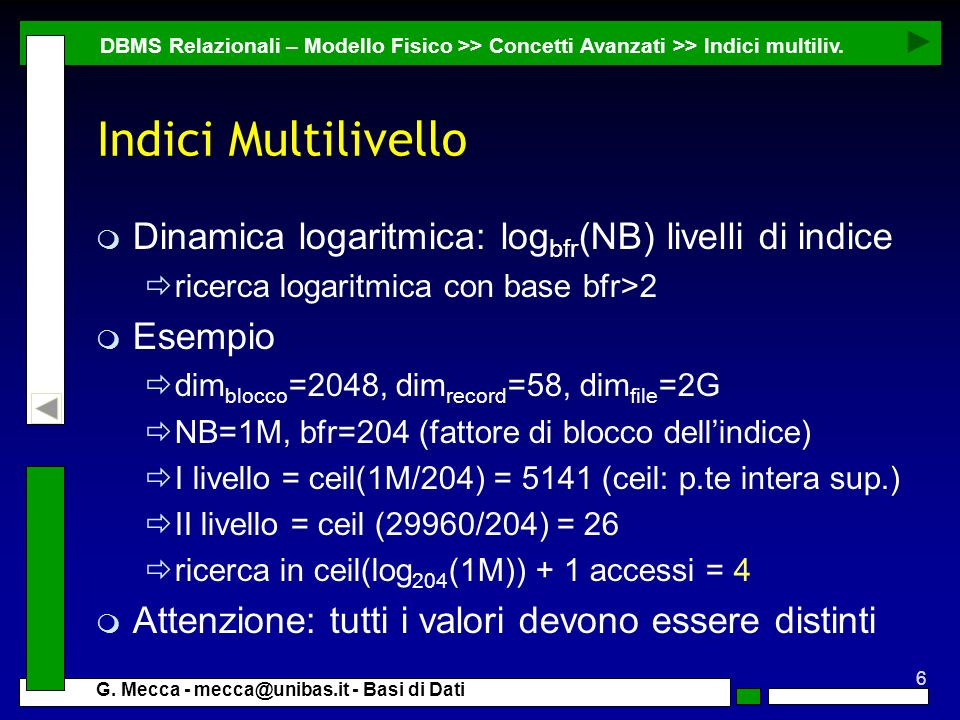 Indici Multilivello Dinamica logaritmica: logbfr(NB) livelli di indice