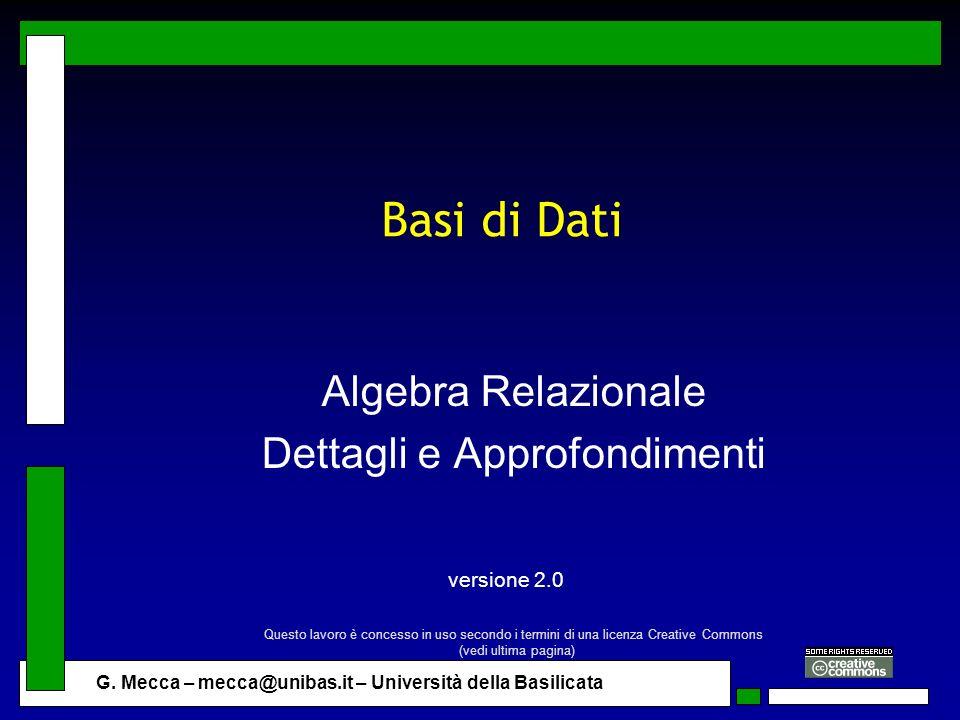 Algebra Relazionale Dettagli e Approfondimenti