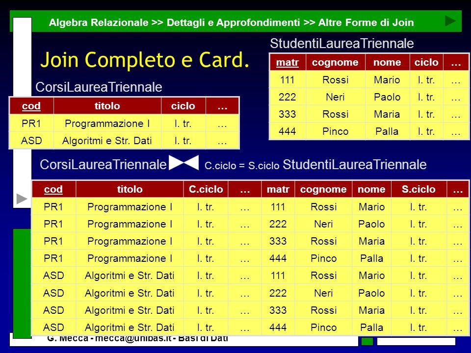 Join Completo e Card. StudentiLaureaTriennale CorsiLaureaTriennale