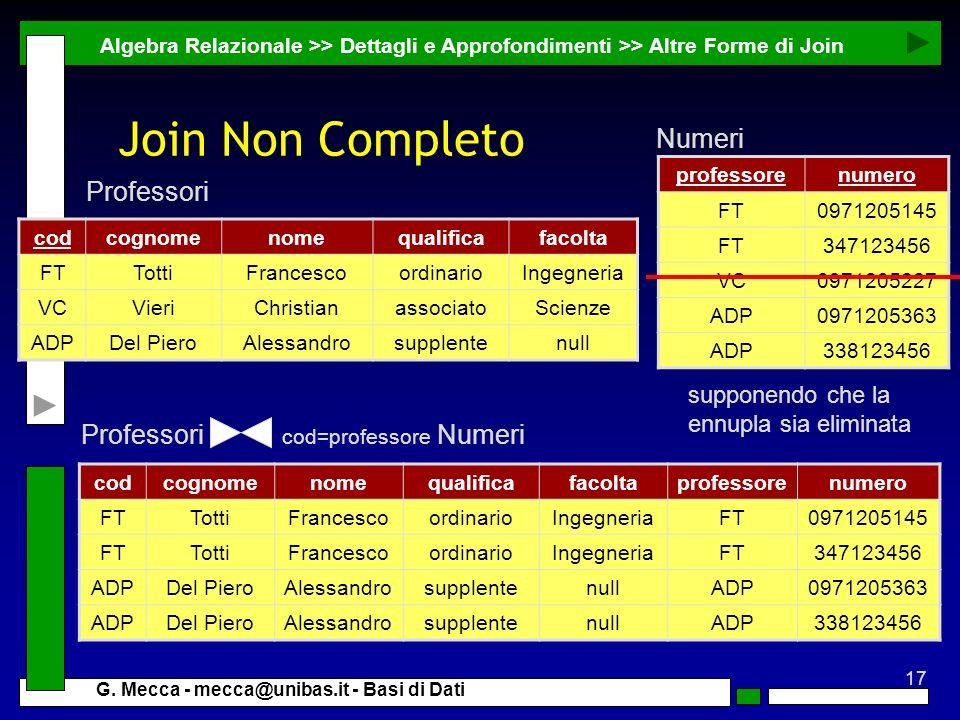 Join Non Completo Numeri Professori Professori cod=professore Numeri