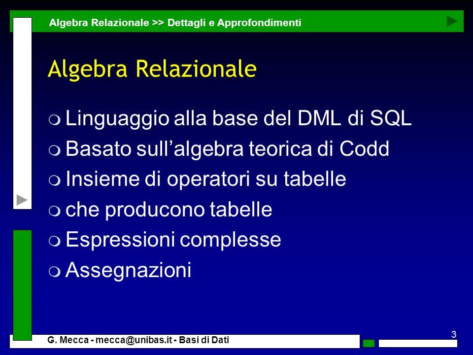 Algebra Relazionale Linguaggio alla base del DML di SQL