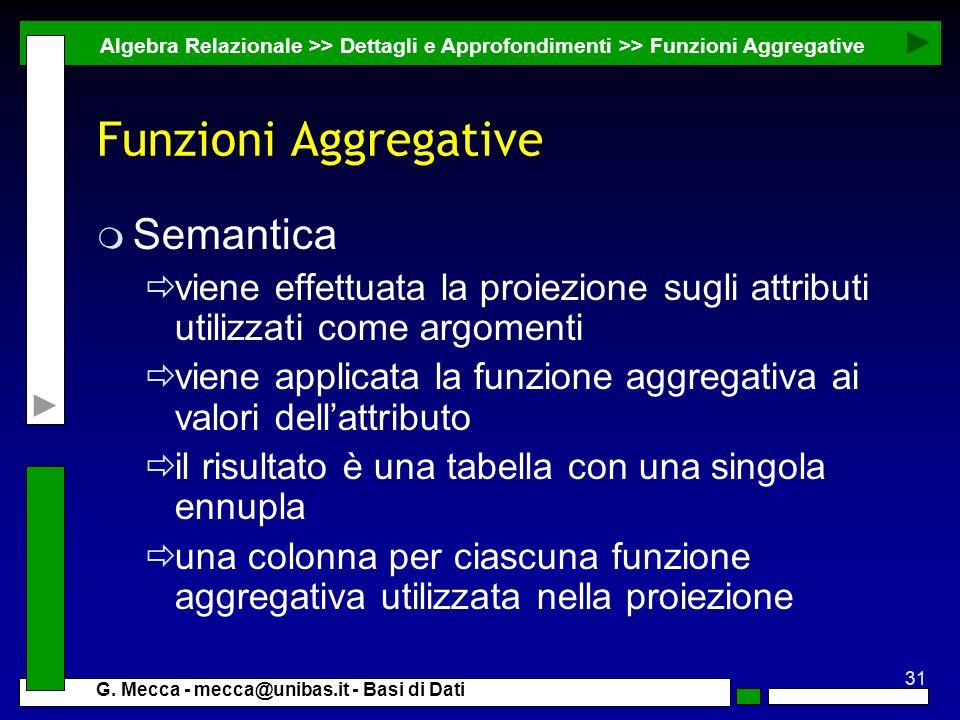 Funzioni Aggregative Semantica