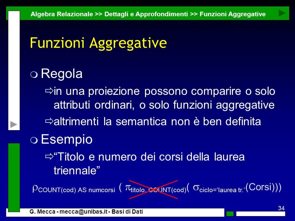 Funzioni Aggregative Regola Esempio