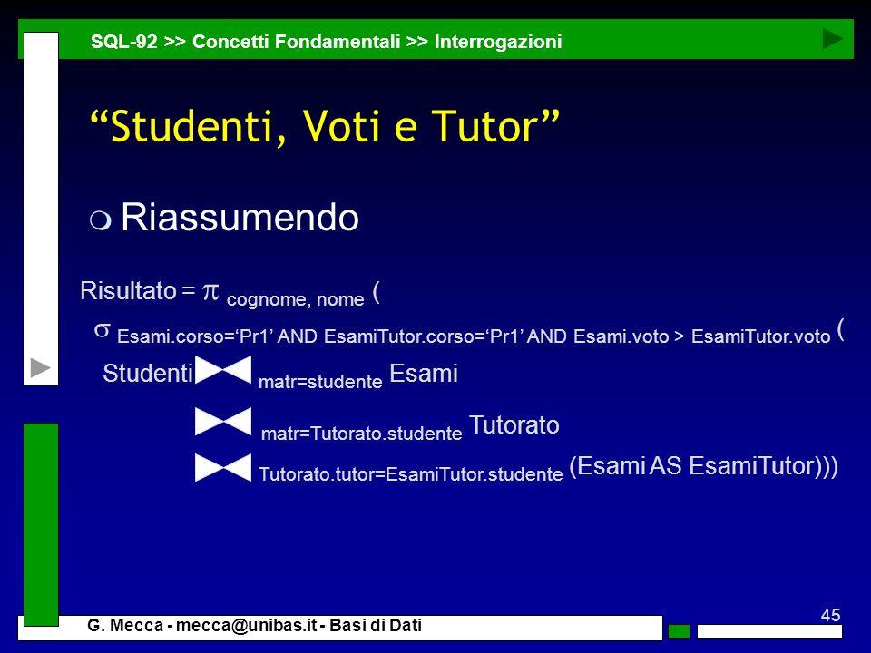 Studenti, Voti e Tutor