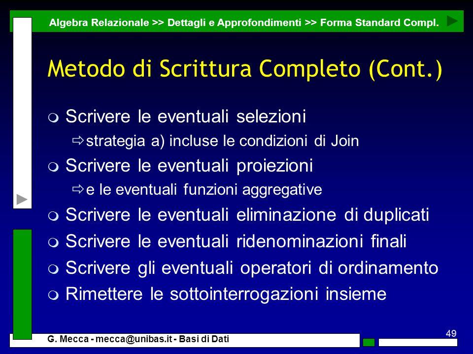 Metodo di Scrittura Completo (Cont.)