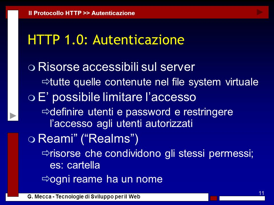 HTTP 1.0: Autenticazione Risorse accessibili sul server