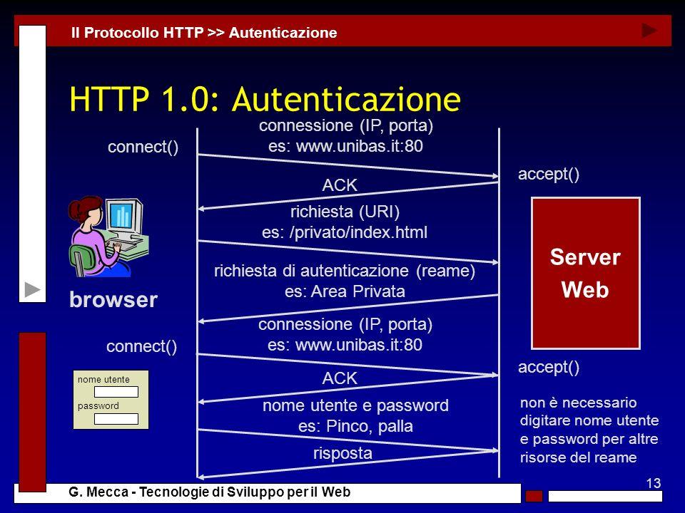 HTTP 1.0: Autenticazione Server Web browser connessione (IP, porta)