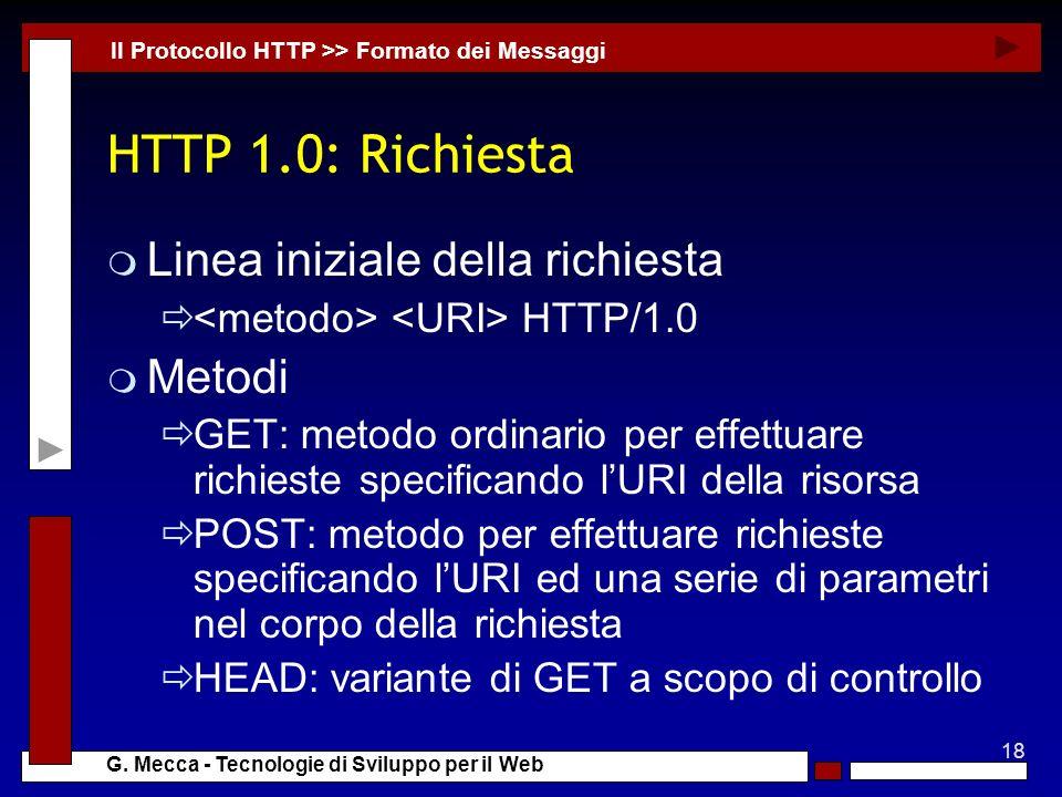 HTTP 1.0: Richiesta Linea iniziale della richiesta Metodi