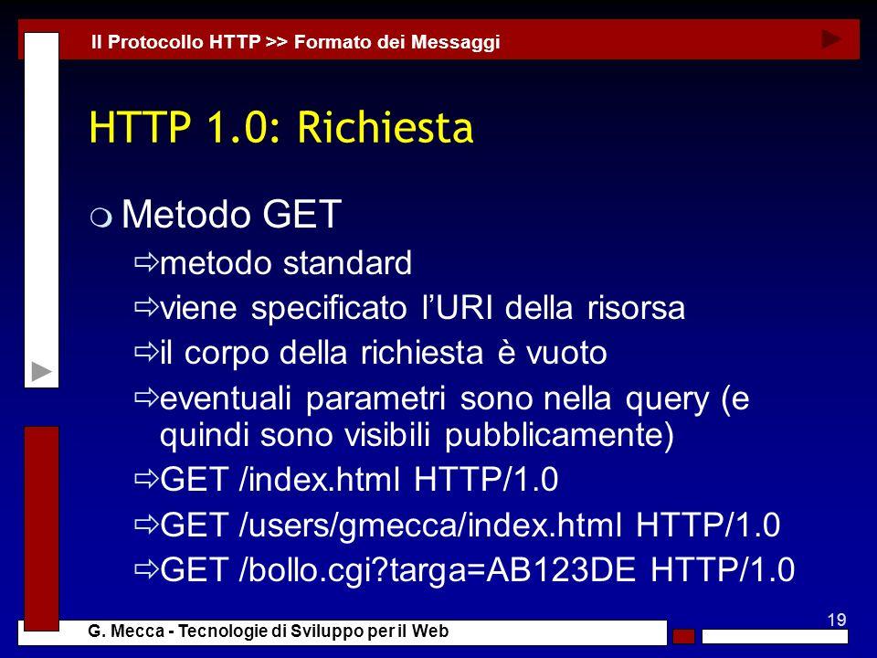 HTTP 1.0: Richiesta Metodo GET metodo standard