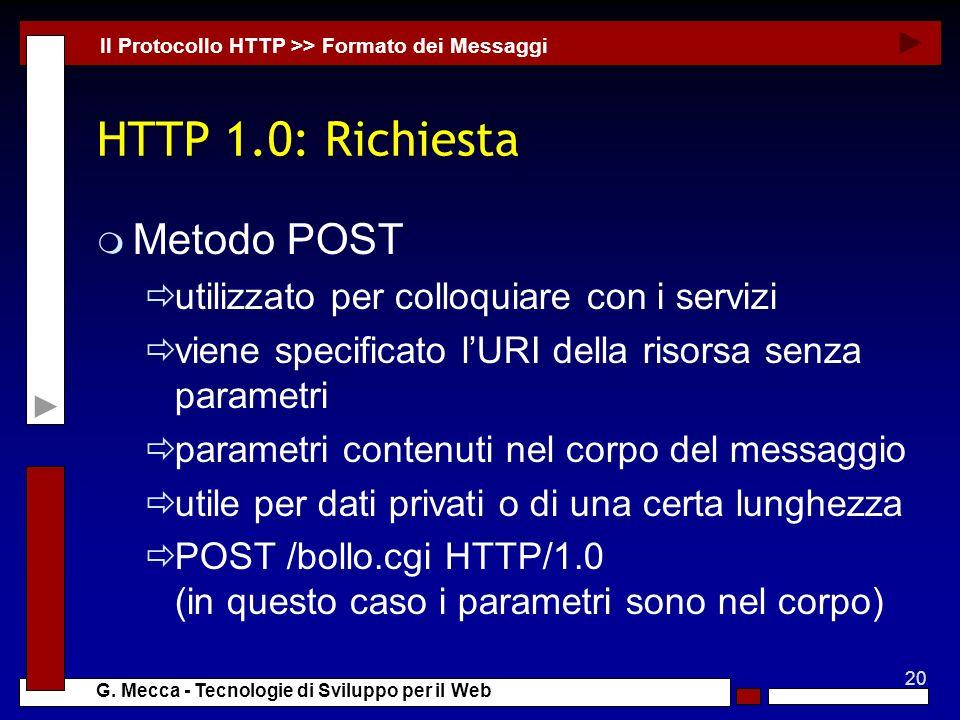 HTTP 1.0: Richiesta Metodo POST