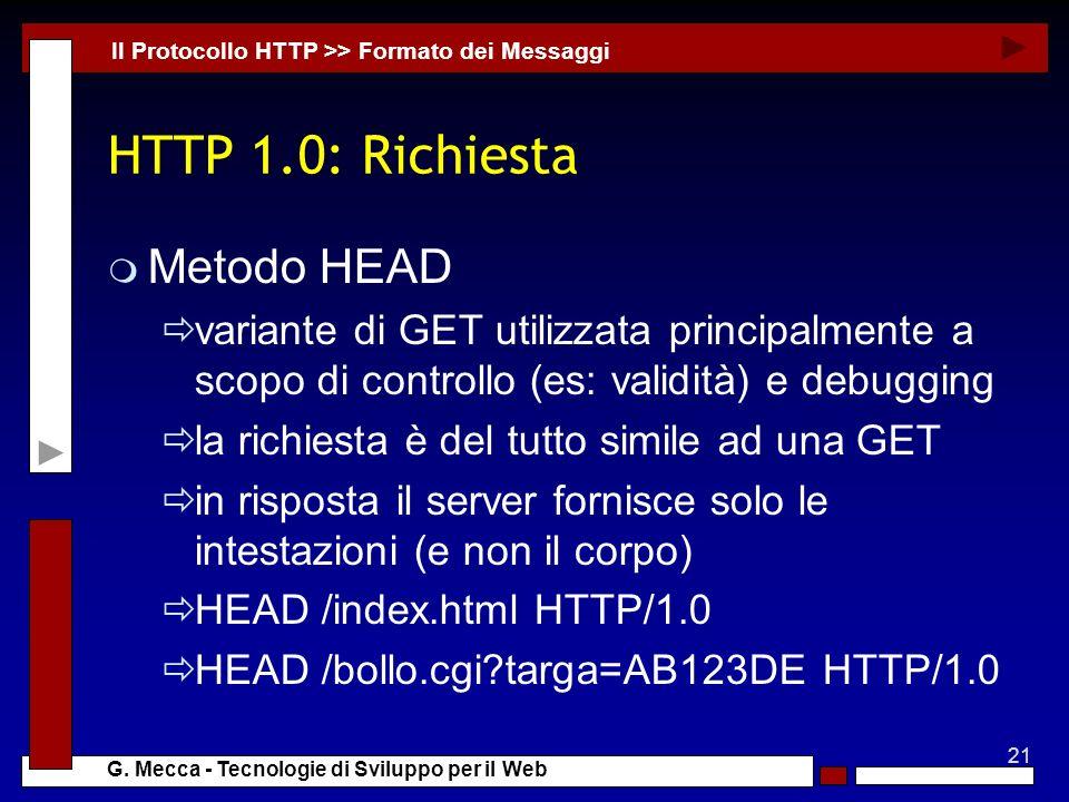 HTTP 1.0: Richiesta Metodo HEAD