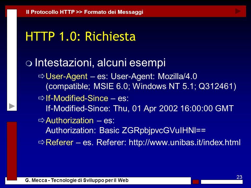 HTTP 1.0: Richiesta Intestazioni, alcuni esempi