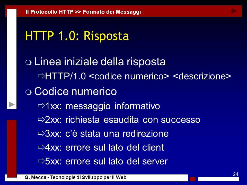 HTTP 1.0: Risposta Linea iniziale della risposta Codice numerico