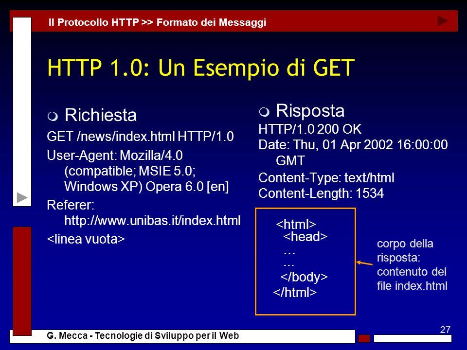 HTTP 1.0: Un Esempio di GET Richiesta Risposta HTTP/1.0 200 OK