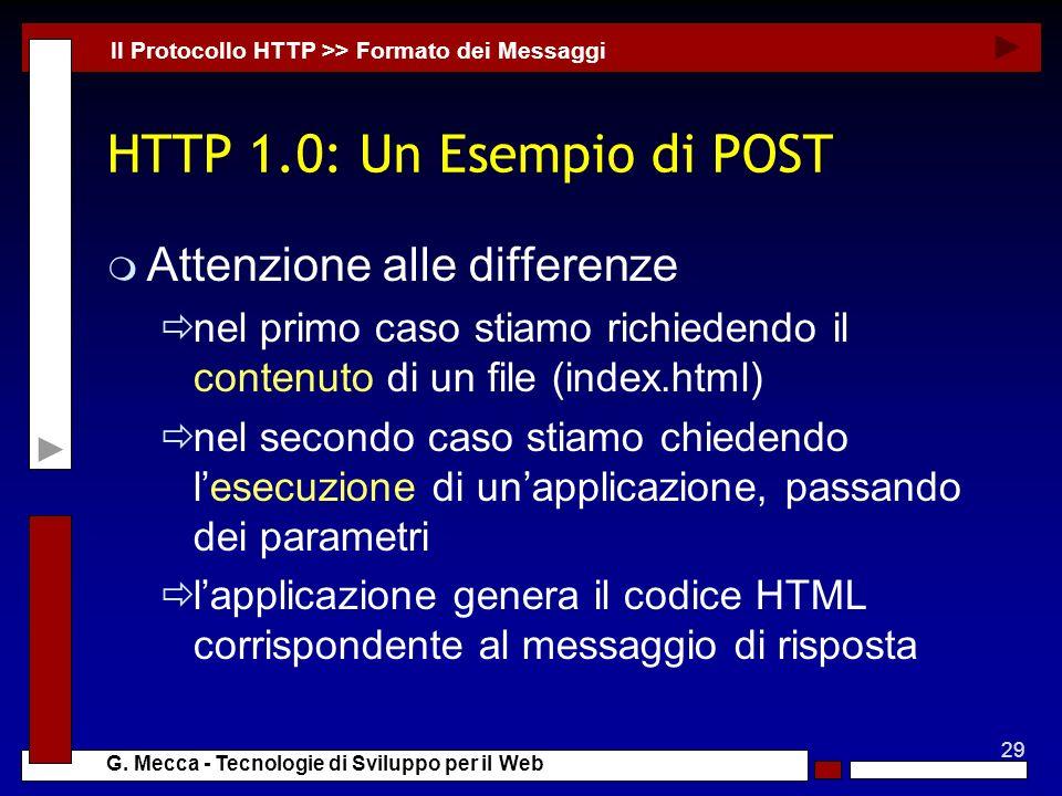 HTTP 1.0: Un Esempio di POST