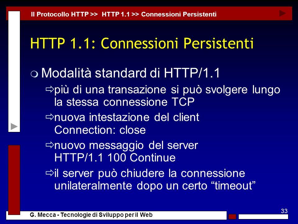 HTTP 1.1: Connessioni Persistenti