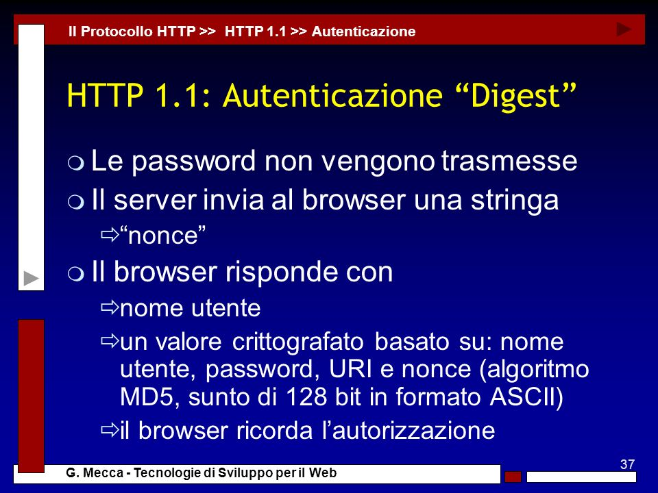 HTTP 1.1: Autenticazione Digest