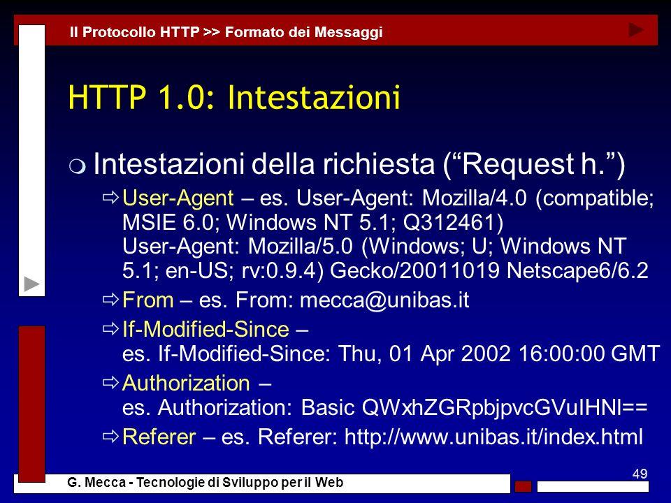 HTTP 1.0: Intestazioni Intestazioni della richiesta ( Request h. )