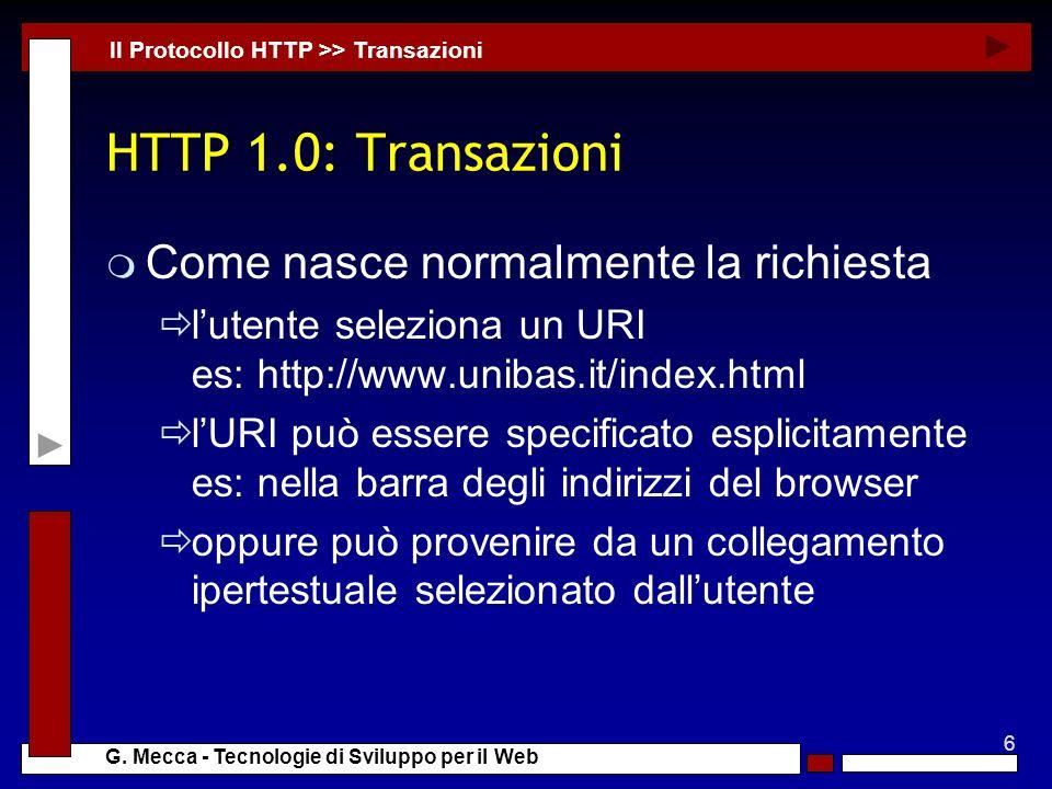 HTTP 1.0: Transazioni Come nasce normalmente la richiesta